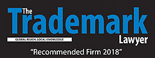 'Recommended Firm for 2018' by the Trademark Lawyer Magazine